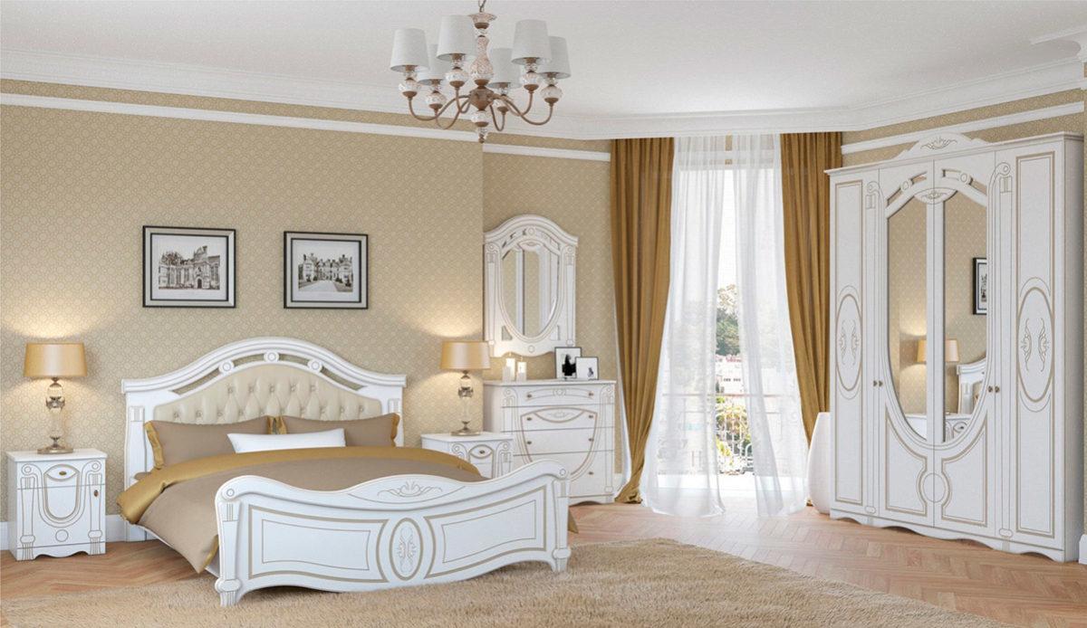 Спальня Александрина белый патина золото Империал Донецк ДНР Colombo