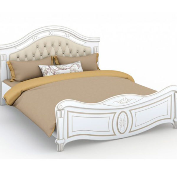 Кровать с мягким изголовьем Александрина белый патина золото Империал Донецк ДНР Colombo