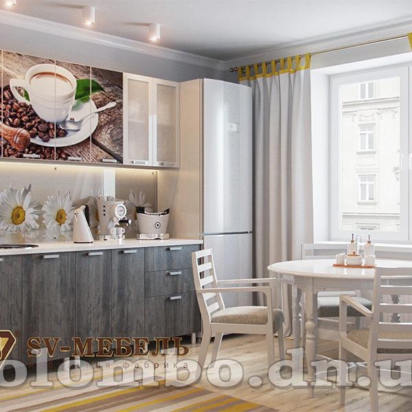 """Кухня с фотопечатью """"Кофе"""" 2м, мф """"SV-мебель"""""""