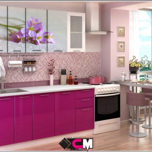 Кухня с фотопечатью Цветок Стенд Мебель Донецк Макеевка ДНР Colombo