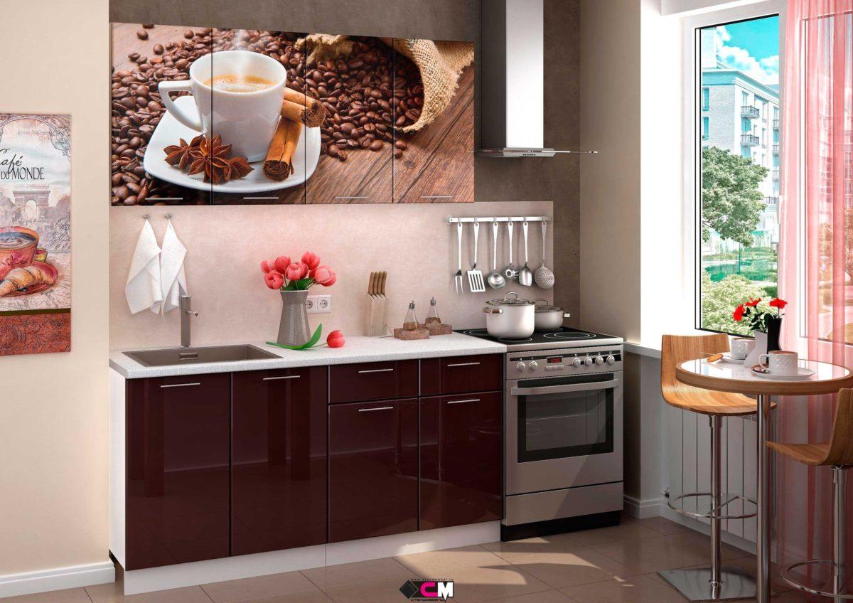 Кухня с фотопечатью Кофе Стенд Мебель Донецк Макеевка ДНР Colombo