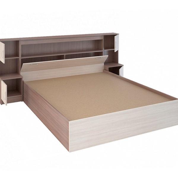 """Двуспальная кровать с закроватным модулем """"Бася"""""""