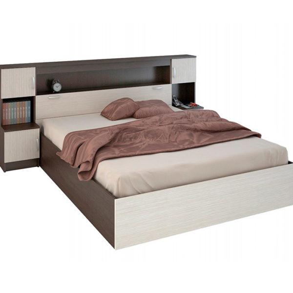 Двуспальная кровать с закроватным модулем Бася Сурская мебель Донецк ДНР Colombo